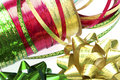 Ribbons and bows in closeup green gold red Royalty Free Stock Images