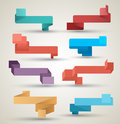 Ribbons collection origami modern style vector illustration can use for printing and web element Stock Photo
