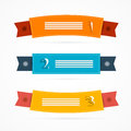 Ribbons labels set in retro colors isolated on white background Royalty Free Stock Photography