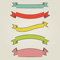 Ribbons set of colorful vintage Stock Image