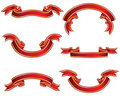 Ribbons set red Stock Images