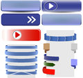 Ribbons set of red and silver for your text Royalty Free Stock Photos