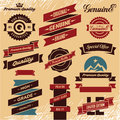 Ribbons set vintage labels retro and labels Royalty Free Stock Photos