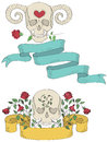 Ribbons with skulls, flowers and hearts Royalty Free Stock Photography