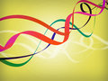 Ribbons swirling over yellow background Royalty Free Stock Image