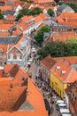 Ribe, Denmark: Top view of the oldest Danish town Ribe in southern Denmark Royalty Free Stock Photo