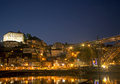 Ribeira area of porto portugal at night Stock Image