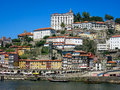 Ribeira district in porto the quay alongside douro river portugal Royalty Free Stock Images