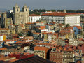 The ribeira district in porto view of historic with sé cathedral and episcopal palace portugal Stock Image