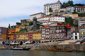 Ribeira and wine boats on River Douro, P Stock Photo
