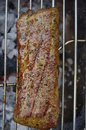Ribs bbq meat on open griddle with close up Stock Photography