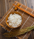 The rice on bamboo mat Stock Photography