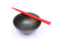 Rice bowl and chopsticks japanese on white background Stock Images