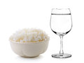 Rice in a bowl and Glass of water Royalty Free Stock Photo