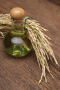 Rice bran oil in bottle glass with seed and on the old plank woo Royalty Free Stock Photos