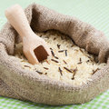 Rice in burlap sack Royalty Free Stock Photos