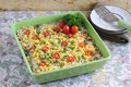 Rice casserole made from natural ingredients are healthy without preservatives and instant seasoning mixed with spices and Stock Image