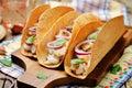 Rice chicken cilantro tacos Royalty Free Stock Photo