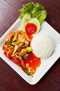 Rice with chiken and vegetables a close up thailand food chicken pepper Stock Image