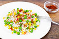 Rice with Corn, Peas, Peppers and Saffron Royalty Free Stock Photo