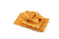 Rice cracker with sesame on white background Stock Photos