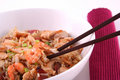 Rice dinner with chopsticks Stock Photography