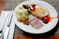 Rice and Eggs breakfast in white plate on the table. Royalty Free Stock Photo
