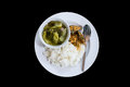 Rice with fish curry cooked pickle. Royalty Free Stock Photo