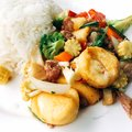 Rice with fried Tofu mixed Royalty Free Stock Photo