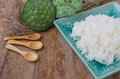 Rice in a green dish and table ware food backgrounds Stock Photography