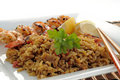 Rice and Grilled Shrimp Royalty Free Stock Photo