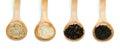 Rice integral, basmati, Wild rice and black rice Royalty Free Stock Photos