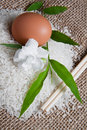 Rice on Jute Sack 3 Royalty Free Stock Image