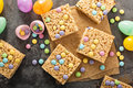 Rice krispies treats with candy Royalty Free Stock Photo