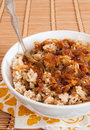 Rice with lentils and caramelized onions Stock Image