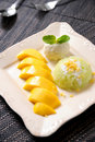 Rice Mango Thai Dessert Stock Photo