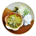 Rice noodle with ckicken green curry (Thai food) Royalty Free Stock Image