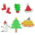 Rice paper cut Christmas  ornaments Stock Image