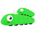Rice paper cut cute green worm and baby Stock Photo