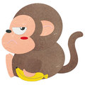 Rice paper cut cute monkey with a banana Stock Photos