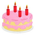 Rice paper cut pink strawberry birthday cake Stock Images