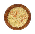 Rice and pasta dry mix top view a dried of seasoned in a wooden bowl on a white background Royalty Free Stock Image