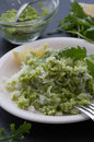 Rice and pea pesto homemade served with Stock Photo
