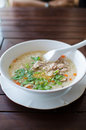Rice porridge with pork and vegetable soup Royalty Free Stock Photo