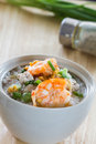 Rice porridge with shrimp boiled in a cup Royalty Free Stock Photography
