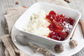 Rice pudding with jam creamy quince delicious dessert Royalty Free Stock Images