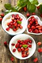 Rice pudding with wild strawberry Royalty Free Stock Photo