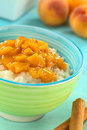 Rice Pudding with Peach Compote Stock Photography