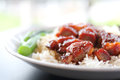 Rice roasted red pork in close up Stock Image