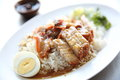 Rice roasted red pork in close up Royalty Free Stock Photos